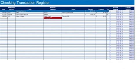 9 Excel Checkbook Register Templates Excel Templates Excel Transaction Template