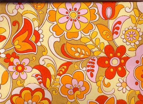 yellow fever pattern vintage 1970s wallpaper orange and pinks price is per