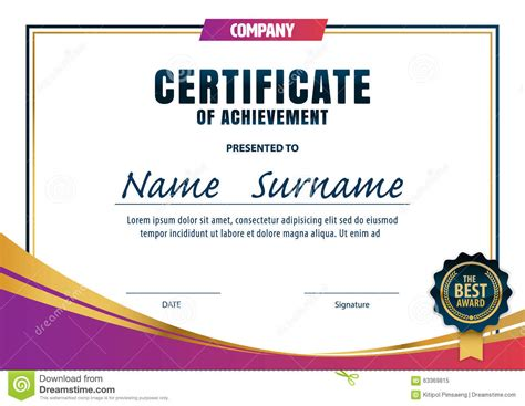 a4 size certificate templates certificate template diploma layout stock vector image