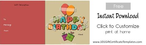 happy birthday gift card template free birthday gift certificate template
