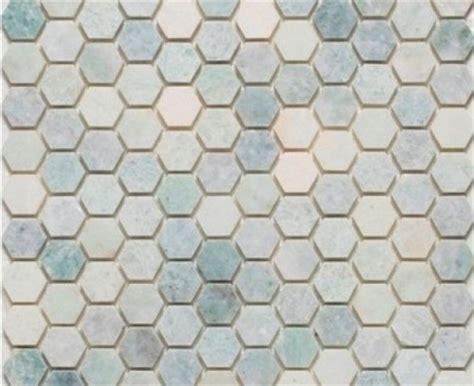 "Ming Green Marble 1"" Hexagon Polished Mesh Mounted Mosaic Tile"