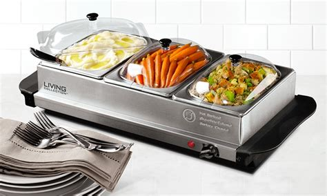heated buffet servers nostalgia living collection bcd332 buffet server with warming tray groupon