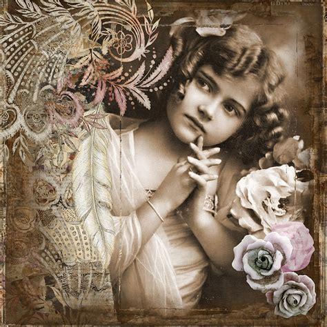 illustration  girl vintage art collage