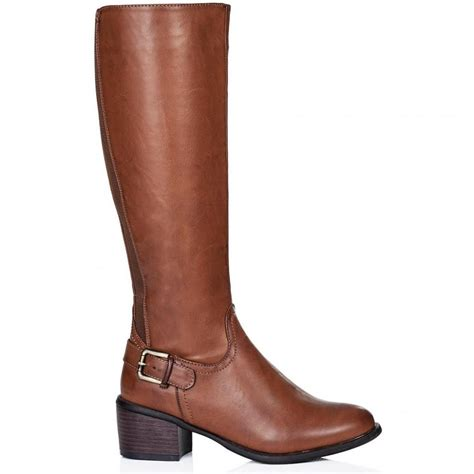 buy ancona block heel buckle zip knee high boots