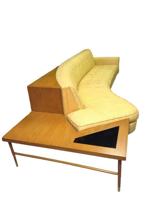 Mid Century Modern Curved Sofa With End Table Circa 1962 Mid Century Modern Sofa Table