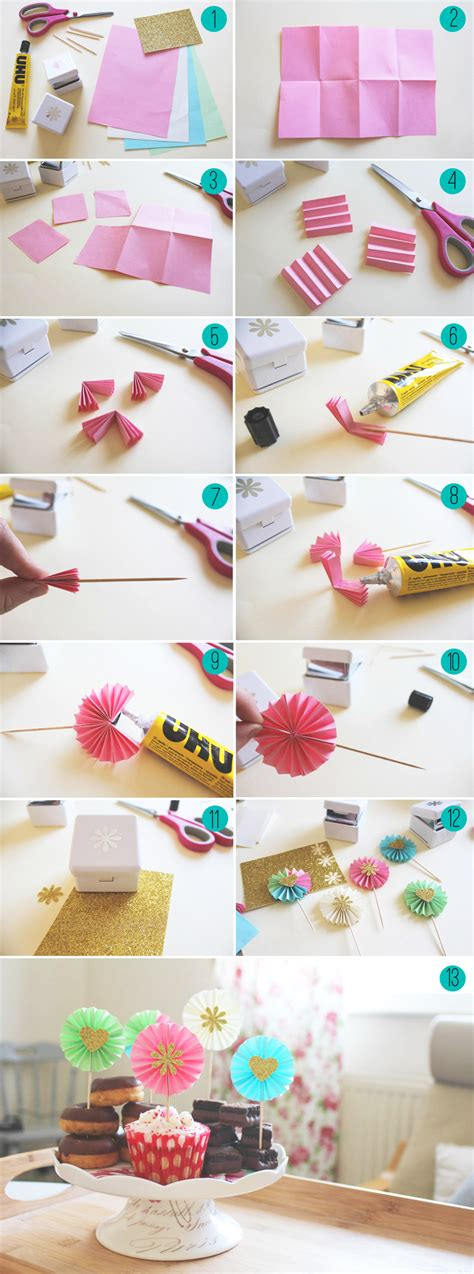 How To Make Decorations With Paper - diy paper fan decorations cupcake toppers bespoke