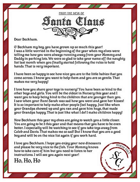 printable return letter from santa from the desk of santa template search results