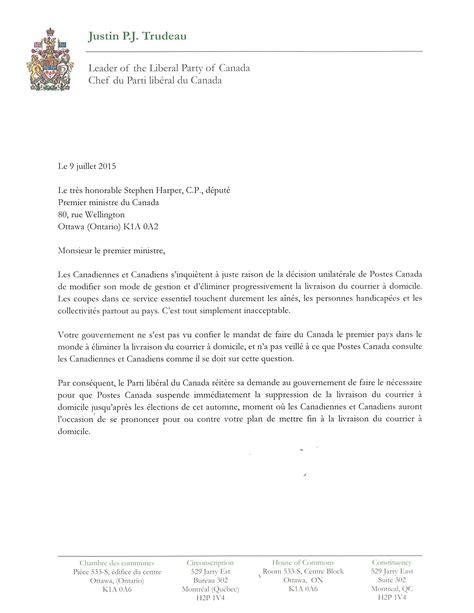 Lettre De Présentation Gouvernement Du Canada Fin De La Livraison 224 Domicile Les Partis De L