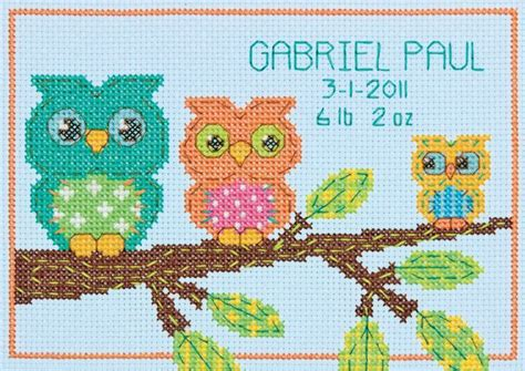 Birth Record Cross Stitch Patterns Free Free Printable Cross Stitch Patterns Cross Stitch Owl Birth Record Mini Counted