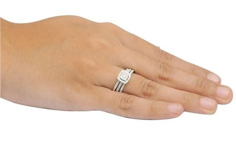1 carat trio wedding ring set for certified in white gold jeenjewels