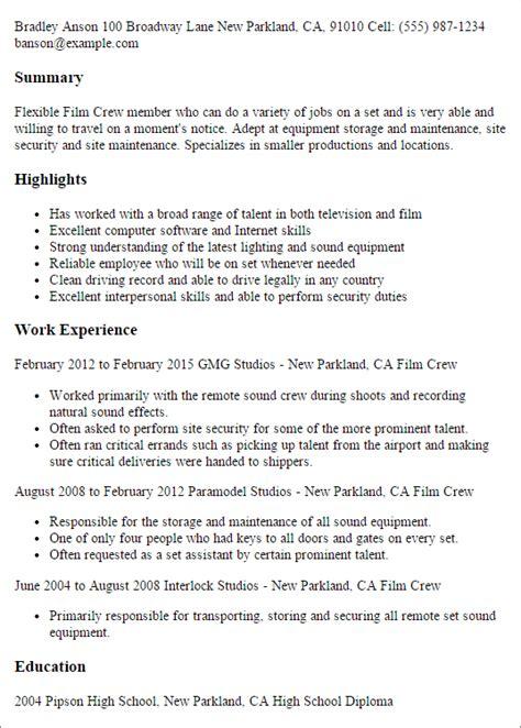 Crew Resume by Resume Service Crew