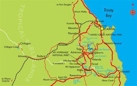 cairns region map including atherton tablelands  trip