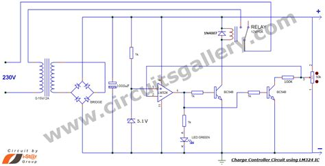 12v charge controller circuit diagram simple battery charge controller circuit using lm324