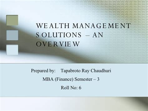 Wealth Management Mba by Wealth Management Solutions An Overview