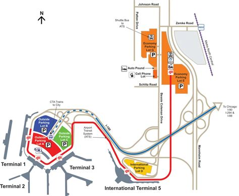 ohare map o hare park and fly compare o hare airport parking