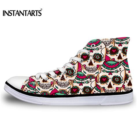 W Fashion Shoes 089 3 instantarts s high top skull vulcanized shoes fashion casual lace up high top canvas