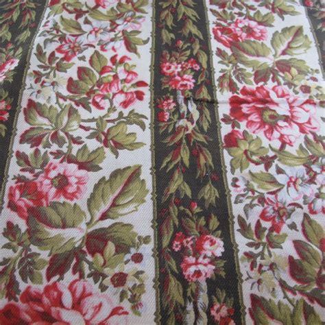 vintage fabric quilt craft antique heavy linen floral
