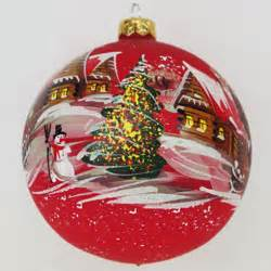 winter village red glass hand painted christmas ball