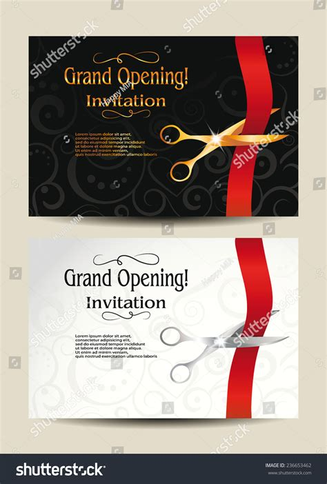 grand opening card template grand opening invitation cards stock vector illustration