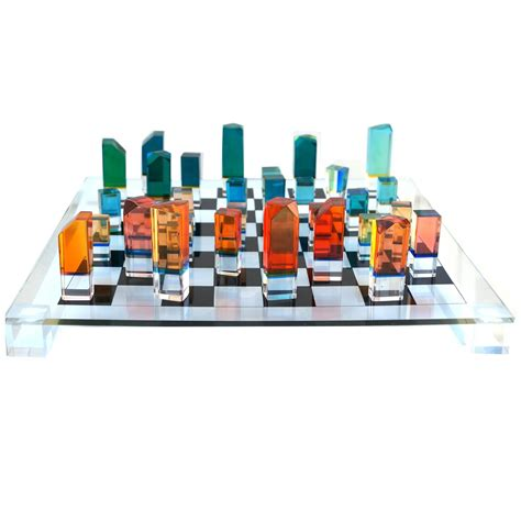 mid century modern chess set mid century modern chess game board set with lucite pieces charles hollis jones at 1stdibs
