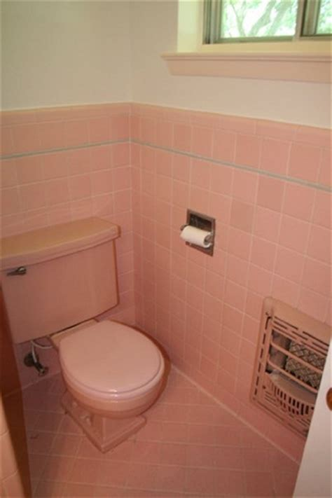 the color palettes that will make your home look outdated the pink bathroom tile with gray