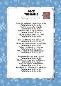 deck the halls lyrics deck the with lyrics activities