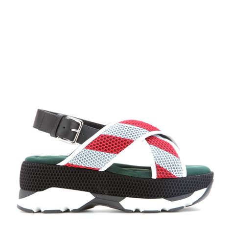 marni mesh leather and rubber platform sandals in white