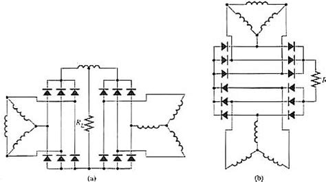 rectifier diodes in series six phase wave bridge circuits