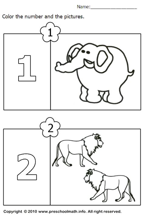 Number 2 Coloring Pages For Preschoolers by Free Preschool Coloring Number Worksheets