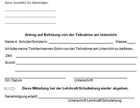 Vorlage Antrag Beurlaubung Schule freistellung vom unterricht vorlage formulare