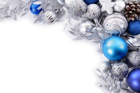 silver and blue christmas balls photo free download