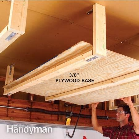 diy hanging garage shelves easy garage storage solutions the family handyman