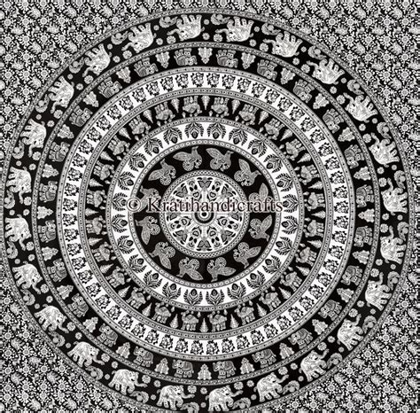 150cmx130cm Boho Wall Carpet Tapestry Mandala Tapestry 9 traditional black and white color elephant mandala