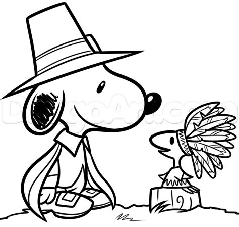 theme line snoopy free thanksgiving snoopy and woodstock drawing lesson step by