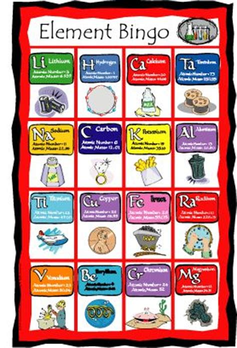 periodic table bingo bingo periodic table and tables on pinterest