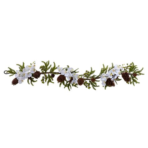 60 inch artificial phalaenopsis orchid pine garland 4947