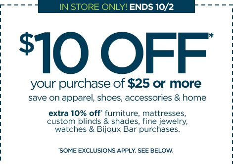 jc penney take 10 your 25 purchase through oct 2
