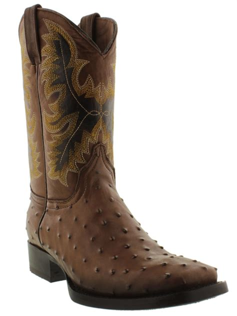 Sepatu Country Boots Casual Brown Originla Handmade mens brown western square toe ostrich pattern cowboy boots alligator ranch new ebay