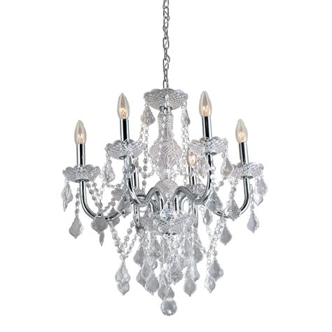 Chrome Chandelier Shop Portfolio 20 86 In 6 Light Polished Chrome Vintage Candle Chandelier At Lowes