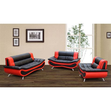 Convertible Loveseat Sleeper Firestone Red Black 2 Tone Bonded Leather Furniture Sofa