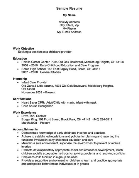 child care provider resume sle 23 best images about resumes on