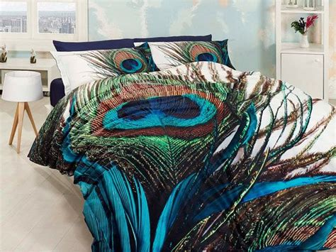 peacock feather comforter set 3d 100 cotton blue and green unique bedding set for