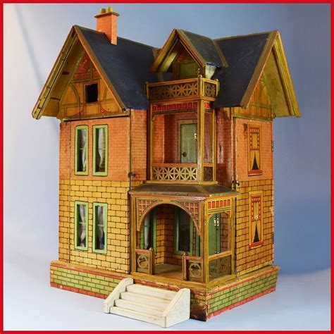 antique gottschalk blue roof dollhouse with two large rooms attic from curleycreekantiques on