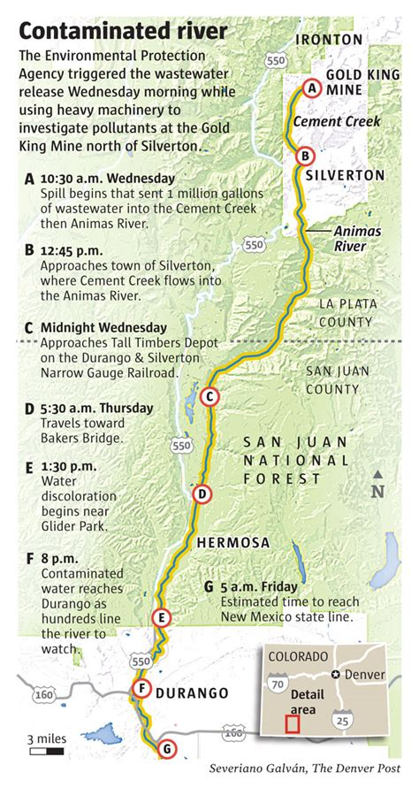 animas river map regional epa director calls wastewater spill in animas river tragic the denver post