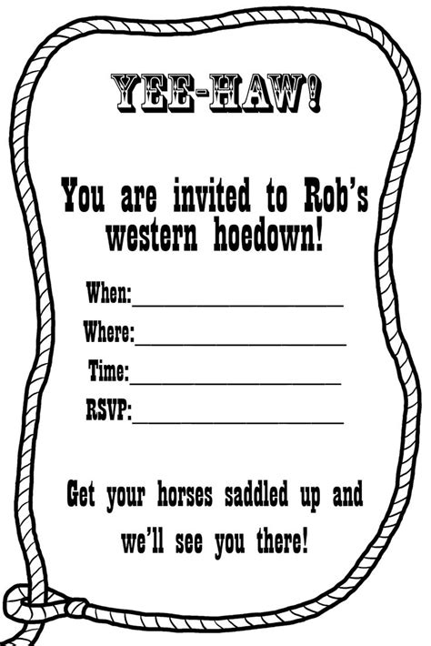 western birthday card template free western invitation templates you can make these