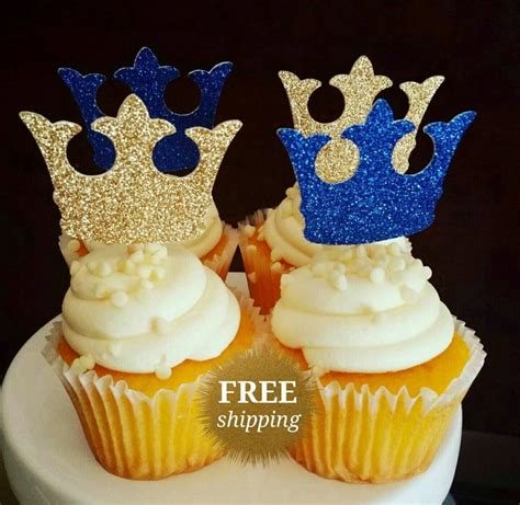 Prince Baby Shower Cupcakes by Prince Crown Cupcake Toppers Glitter Crown Toppers Gold