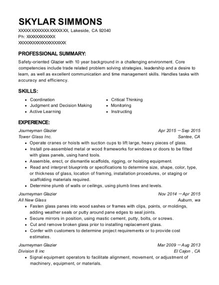 Apprentice Glazier Resume best journeyman glazier resumes resumehelp