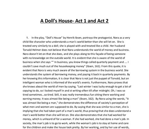 a doll s house analysis a doll s house act 1 analysis essay