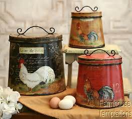 Country Kitchen Canisters Sets by Cottage Rooster Canister Set Shabby French Country Chic