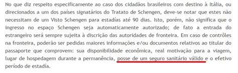 consolato brasile roma visti obrigatoriedade do seguro de viagem para entrar na it 225 lia